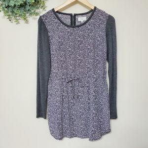 Lou & Grey Cinched Waist Longsleeve Dress Gray XS